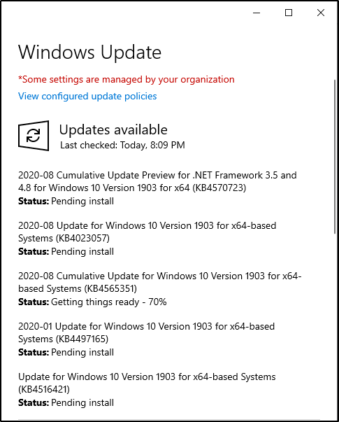 Windows Update dialog box